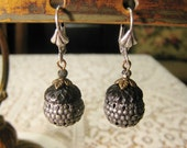 Autumn Fall Holiday Acorn Dangle Earrings Large Filigree Bead Tri Color Matte Gray Black Antique Brass Silver Lever Back