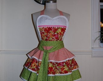 Floral Pink Green Cream Red Full 3 Tiered Circle Skirt PinUp Hostess Apron