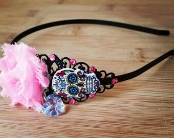 Dia de los muertos - Sugar skull headband -hair jewelry-shabby rose hair band-crystal headband-gothic hair accessories-pink sugar skull