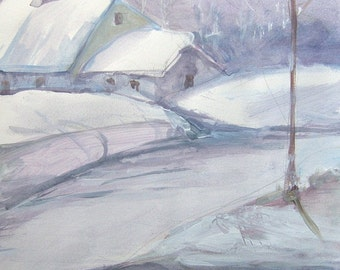 Original painting Winter landscape