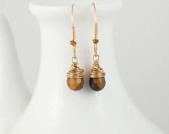 Tiger Eye Drop Earrings 14k Gold, Sterling Silver, with Beaded Detail on Handmade Earwires