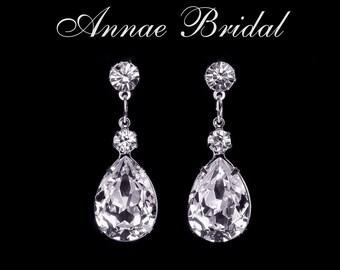 "Crystal teardrop earrings, Bridal, wedding, Swarovski, clear, silver, ""Paris by Moonlight"" earrings"