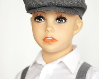 Boys newsboy hat grey hat 1st birthday boy Easter outfit boy first birthday Ring bearer outfit gray hat Page boy hat Toddler boy photo prop