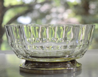Lead Crystal Serving Bowl With Silverplate Base
