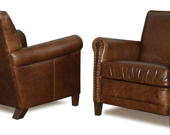 Genuine Leather Club Chairs, Accent Chairs, Cigar Chair with Nail Heads
