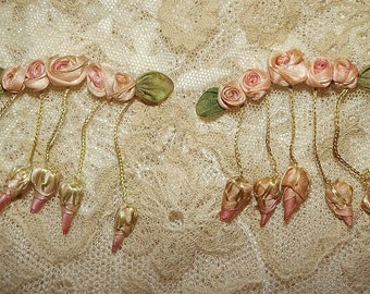 Antique Vintage Petite Flapper Era Pink Silk Ribbon Rosettes with Dangling Buds Ribbonwork