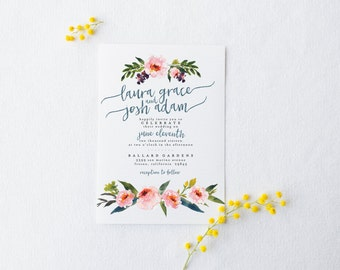 DIY Romantic Wedding Invitation Suite - Rustic, Chic, Watercolor, Painted, Garden, Calligraphy, Invite Kit, Printable (Wedding Design #74)
