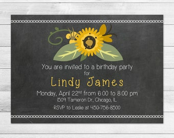 Chalkboard and Sunflower Birthday Party Invitation, Printable Digital Invite File