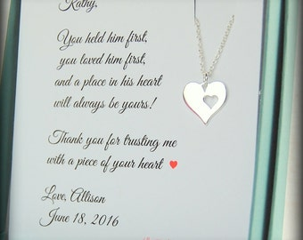Mother of the Groom Gift from bride, Mother of Groom gift set, Sterling silver heart, wedding jewelry, Thank you to mother of the groom