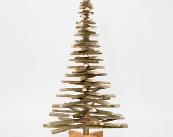 Swell Wooden Christmas Tree Made Out Of Cherry Wood Branches By Onthout Easy Diy Christmas Decorations Tissureus