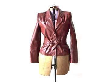 Leather Jacket, Leather Coat, Red Leather Coat, Red Leather Jacket, Vintage Leather Coat, Womens Leather, Size Medium, 1970s 70s Clothing