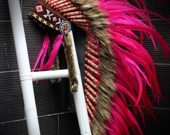 READY FOR HALLOWEEN .Y04 Indian Native American Style ,  Medium Pink Feather Headdress (36 inch long ).