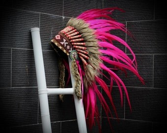 READY FOR HALLOWEEN . X23 Full  pink  Feather Headdress,Native American Indian Style
