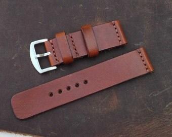 Bracelet en cuir Apple Watch bracelet fait à la main italien végétal tanné avec adaptateurs