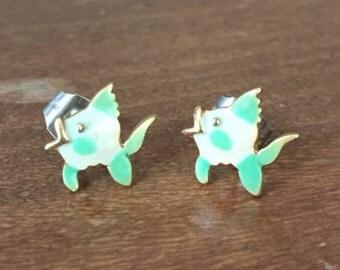 Mini Aqua & White Fish Earrings with Gold Tone Accents