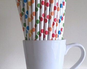 Rainbow Paper Straws Red, Orange, Yellow, Green, Blue Polka Dot Party Supplies Party Decor Bar Cart Cake Pop Sticks Graduation
