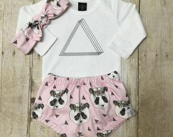 Girls triangle onesie, diaper cover & headband