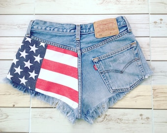 Team USA Red White and Blue Patriotic US American flag Satrs and Stripes Levis 4th Fourth of July shorts