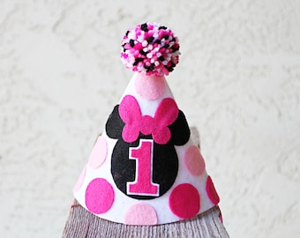 Minnie Mouse 1st Birthday Hat - Girls First Birthday Pink Minnie Party Hat - Twodles Cake Smash