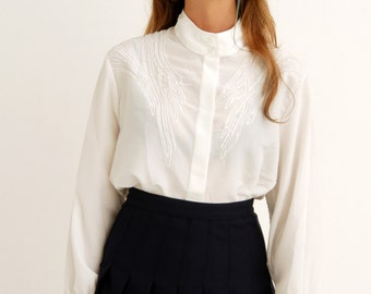 Vintage White Blouse Shirt with High Collar and Beaded Embroidered front / Traditional Classic Statement Glitter / S M L Oversized Medium