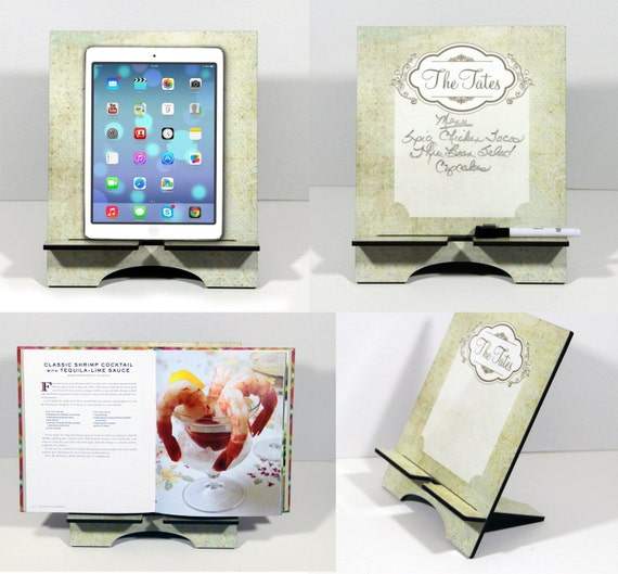Classy Flourish Personalized iPad Stand and Cookbook Holder Christmas Gift Dry Erase Surface Custom Kitchen Tablet Stand Holder