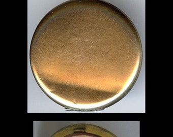 ART DECO antique rhinestone beautiful lady embossed LOCKET pendant