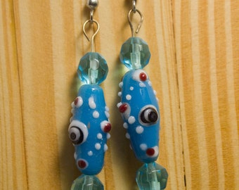 Blue Fused Glass Earrings