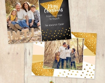 INSTANT DOWNLOAD 5x7 Christmas Card Photoshop Template - CA608