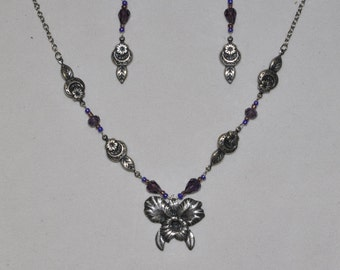 Necklace and Earrings Set Silver Iris #402
