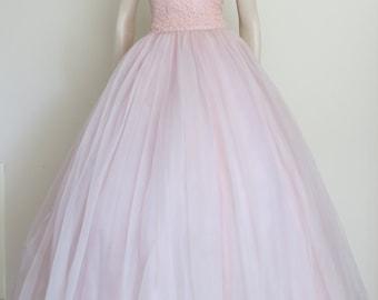 Stunning Pink Vintage 50s 60s Prom Dress and matching Bolero / Cup Cake / Full Skirt / Medium