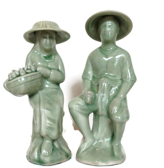 Vintage asian fisherman and wife unique ceramic figurines green glaze