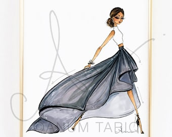 Fashion Illustration Print, Gray Ballskirt