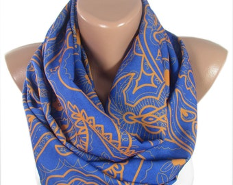 Paisley Scarf Infinity Scarf Blue Orange Scarf Mothers Day Christmas Gift For Her Retirement Gift for WomanTravel Gift for Mom Wife