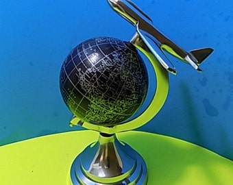 NEW Silver Metal Airplane Globe Collectible Figurine Aluminum Art Deco Style Home decor Gift