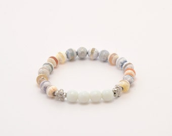 Dzi agate bracelet, agate bracelet, beaded bracelet, stone bracelet, beaded jewelry, stone jewelry, natural stones, semi-precious stones