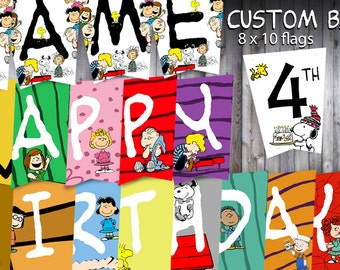 Personalized Peanuts Birthday Banner, Charlie Brown, Snoopy, Linus, Lucy, Peppermint Patty, Sally, Bunting Banner, You Print