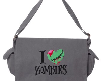 Walking Dead Messenger Bag, I Heart Zombies Embroidered Canvas Cotton Messenger Bag
