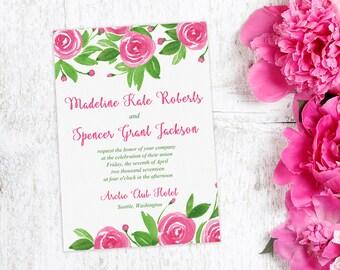 "Floral Invitation Watercolor Wedding - Pink Wedding Invitation ""Sweet Roses"" Watercolor Invitation - Watercolor Flowers Invitation"