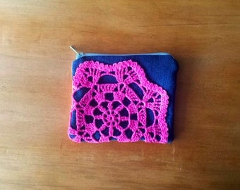 Coin Purse (Candy Pink Doily) secondhand black denim pink purple flowers floral fabric pouch