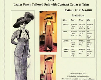 Digital Pattern~Ladies' 1912 Edwardian Titanic Walking Suit (in PDF to print at home) Pattern #1912-A-040