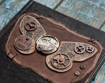 Steampunk leather journal Butterfly leather journal Steampunk notebook Leather notebook Butterfly book Handmade leather journal Blank book
