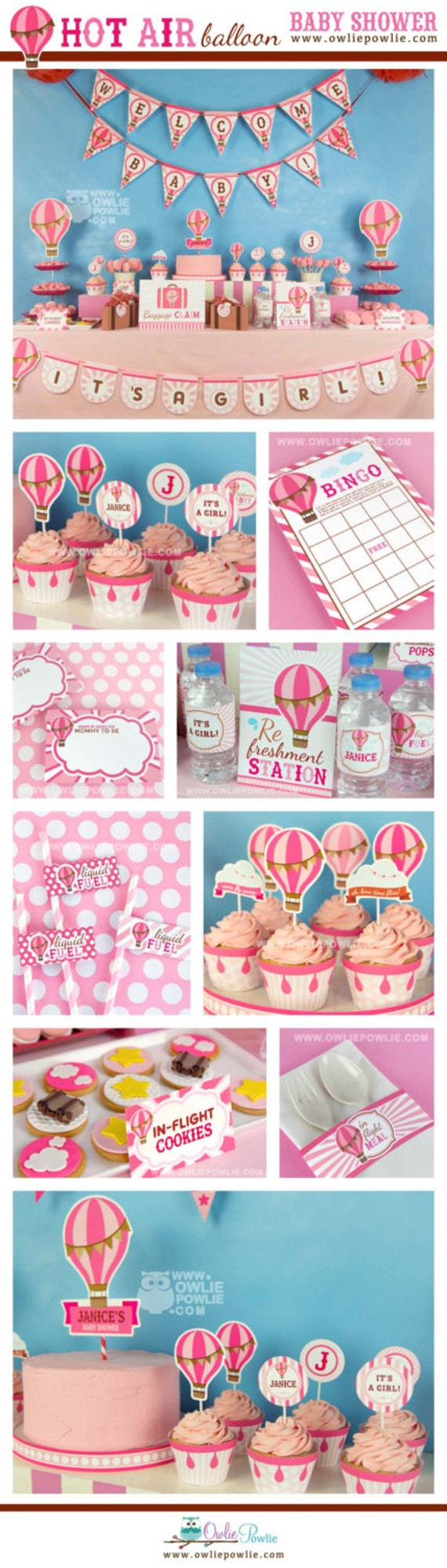 Hot Air Balloon Pink BABY Shower Party Printable Package ...