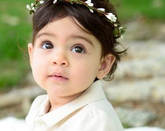 THE WENDY BABY - White Woodland Children's Flower Leaf Crown Baby Hair Accessories Flower Girl Boho Wedding Wreath Baby Headband Toddler Bow