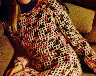 Mesh Crochet Dress Vintage Crochet Pattern Download