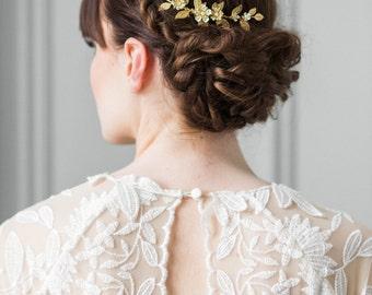 Delia flower and leaf comb, bridal flower comb, bridal flower clip, gold leaf headpiece, gold flower headpiece, bohemian, wedding comb #208