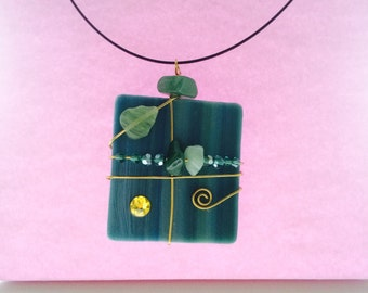Green pendant, green pendant necklace, green necklace, Green stained glass necklace