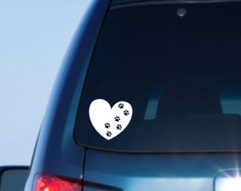 Pet Car Decal, Heart Paw Decal, Paw Print Decal, Paw Print Car Decal, Heart Car Decal, Pet Car Sticker, Paw Print Sticker