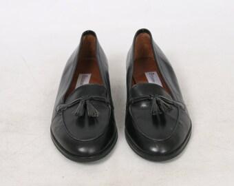 Etienne Aigner Womens 7 US 7.5 M Black Leather TASSEL Loafers Flats Vintage Shoes
