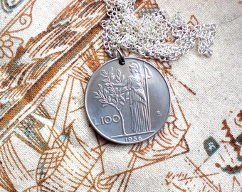 Minerva necklace, Minerva keychain, Coin necklace, Athena necklace, Goddess of wisdom, Italy coin, Goddess necklace, Italy Vintage coin
