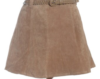 Brown suede skirt | Etsy
